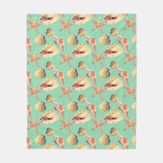 Sea Shells on Aqua Fleece Blanket