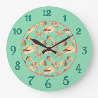 Sea Shells on Aqua Large Clock