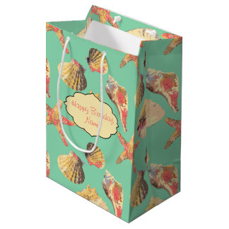 Sea Shells on Aqua Medium Gift Bag