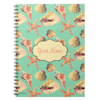 Sea Shells on Aqua Notebook