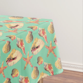 Sea Shells on Aqua Tablecloth