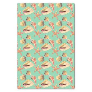 Sea Shells on Aqua Tissue Paper