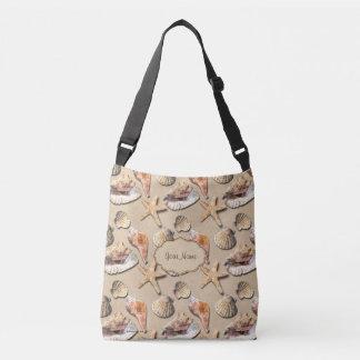 Sea Shells on Beach Sand Crossbody Bag