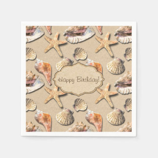Sea Shells on Beach Sand Disposable Napkins