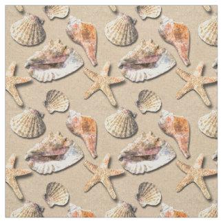 Sea Shells on Beach Sand Fabric