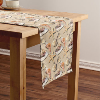 Sea Shells on Beach Sand Medium Table Runner