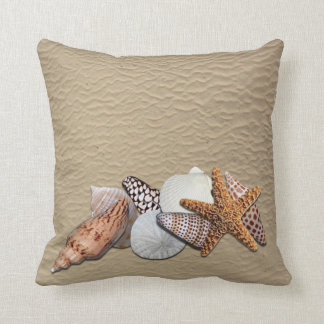Sea Shells on the beach Throw Pillow