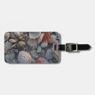 Sea shells on the sand bag tag
