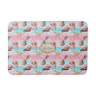 Sea Shells Pink and Turquoise Watercolor Bath Mat