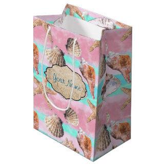 Sea Shells Pink and Turquoise Watercolor Medium Gift Bag