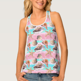 Sea Shells Pink and Turquoise Watercolor Singlet