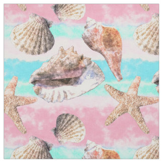Sea Shells Pink and Turquoise Watercolor Stripes Fabric