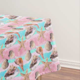 Sea Shells Pink and Turquoise Watercolor Tablecloth