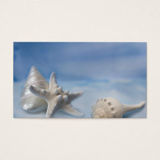 Sea Shells Star Fish Hand Painted Blue Watercolor Business Card
