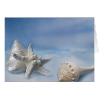 Sea Shells Star Fish Hand Painted Blue Watercolor Greeting Card
