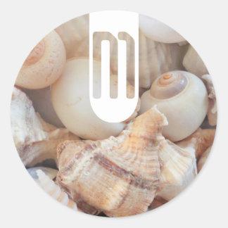 Sea Shells, Summer Beach Exotic Tropical Romantic Classic Round Sticker