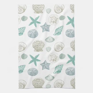 Sea shells tea towel