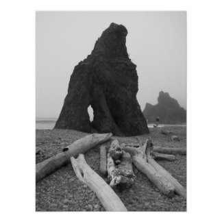 Sea Stacks Black and White Poster