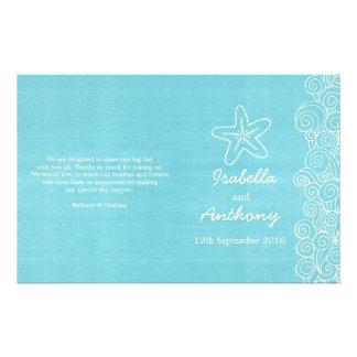Sea star & swirls blue cream wedding programs 14 cm x 21.5 cm flyer