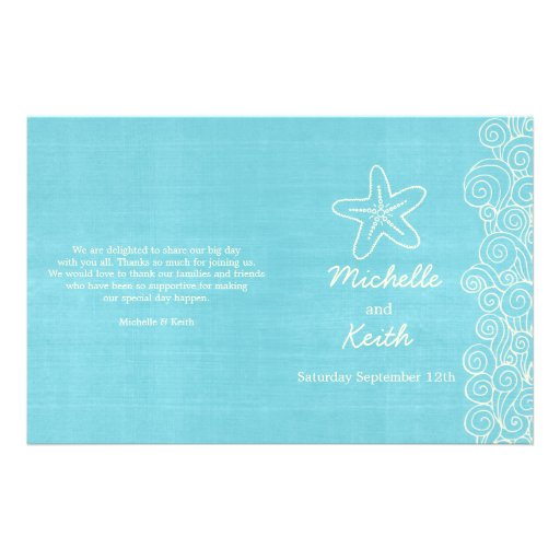Sea star & swirls blue cream wedding programs full color flyer