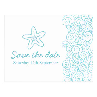 Sea star & swirls blue & white save the date card postcard