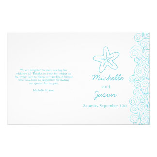 Sea star & swirls blue white wedding programs 14 cm x 21.5 cm flyer