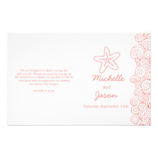 Sea star & swirls coral white wedding programs 14 cm x 21.5 cm flyer