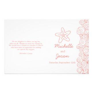 Sea star & swirls coral white wedding programs flyer