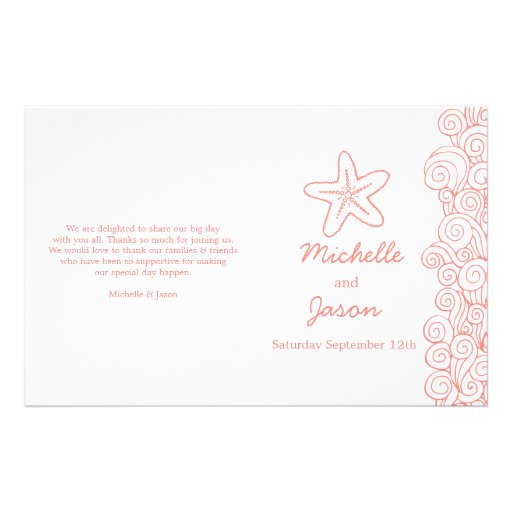 Sea star & swirls coral white wedding programs flyer