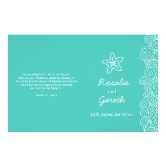 Sea star & swirls teal green wedding programme 14 cm x 21.5 cm flyer