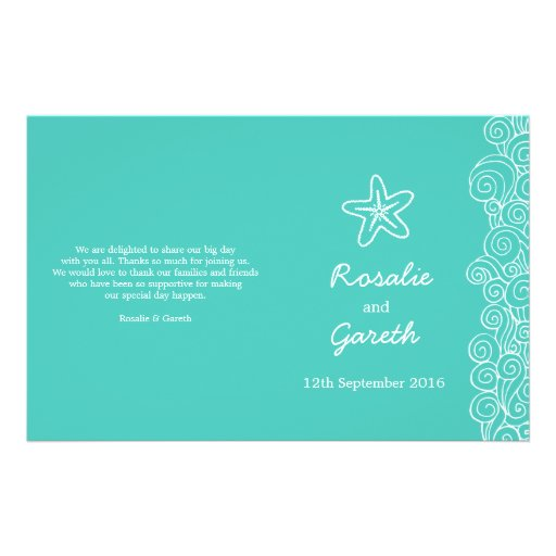 Sea star & swirls teal green wedding programme personalized flyer