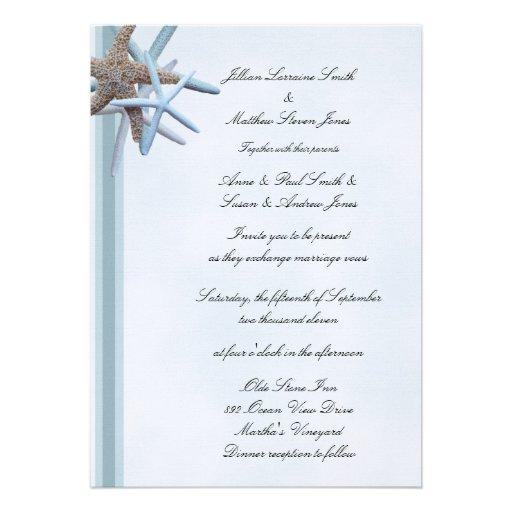 Sea Stars 5x7, Flat Wedding Invitation