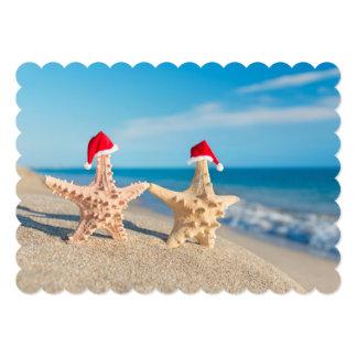 Sea-Stars Couple In Santa Hats Walking At Beach Card