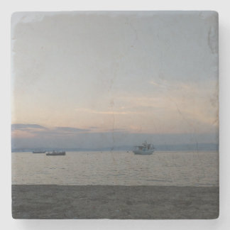 Sea summer boats Marble Stone Coaster