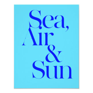 Sea sun air surf beach life mottos fun happy custom announcement card