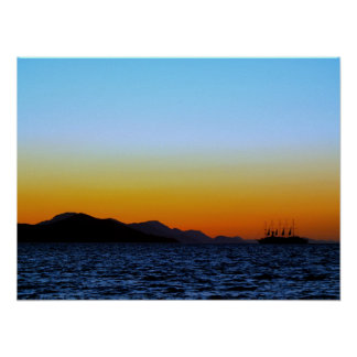 sea sunset and sailing poster