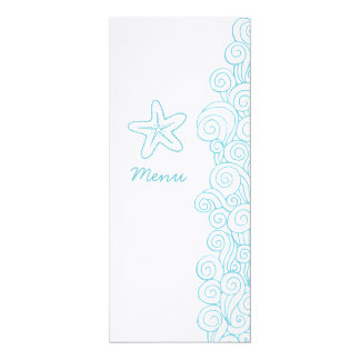 Sea swirls starfish blue white wedding dinner menu card