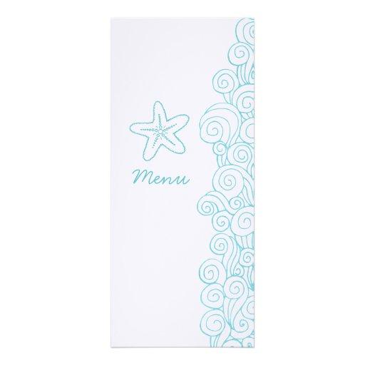 Sea swirls starfish blue white wedding dinner menu personalized announcements