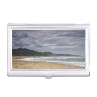 Sea Themed, People At The Beach On A Cloudy Day Business Card Holder