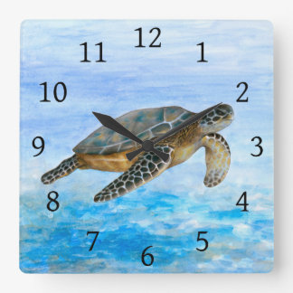 Sea Turtle 1 Square Wall Clock