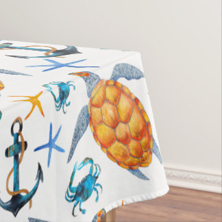 Sea Turtle and Anchor Tablecloth