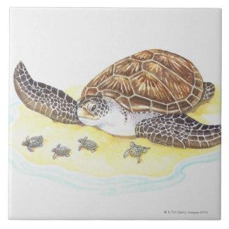 Sea Turtle and Babies Tile