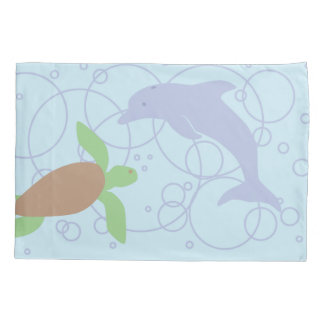 Sea Turtle and Dolphin Pillowcase