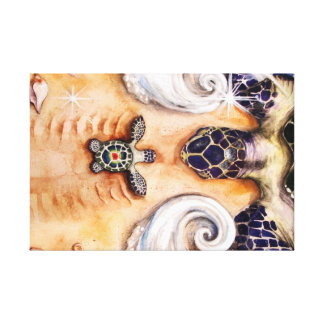 Sea Turtle and Mother Canvas Print