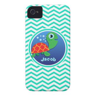 Sea Turtle Aqua Green Chevron Case-Mate iPhone 4 Case