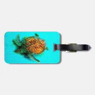sea turtle art turquoise custom luggage tag