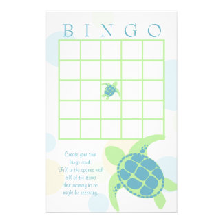 Sea Turtle Baby Shower Bingo Stationery