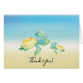 Sea Turtle Baby Shower Thank You Note Card