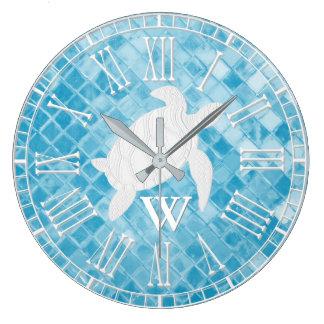 Sea Turtle Blue Sea Glass Monogram Large Clock