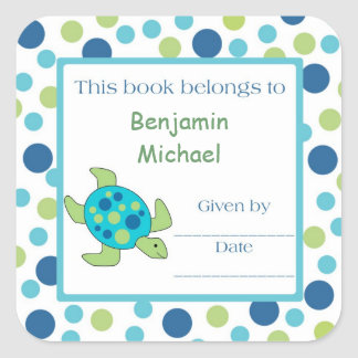 Sea Turtle Bookplate Label Blue Green Dot